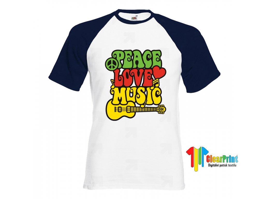 Peace love music Náhled navy white