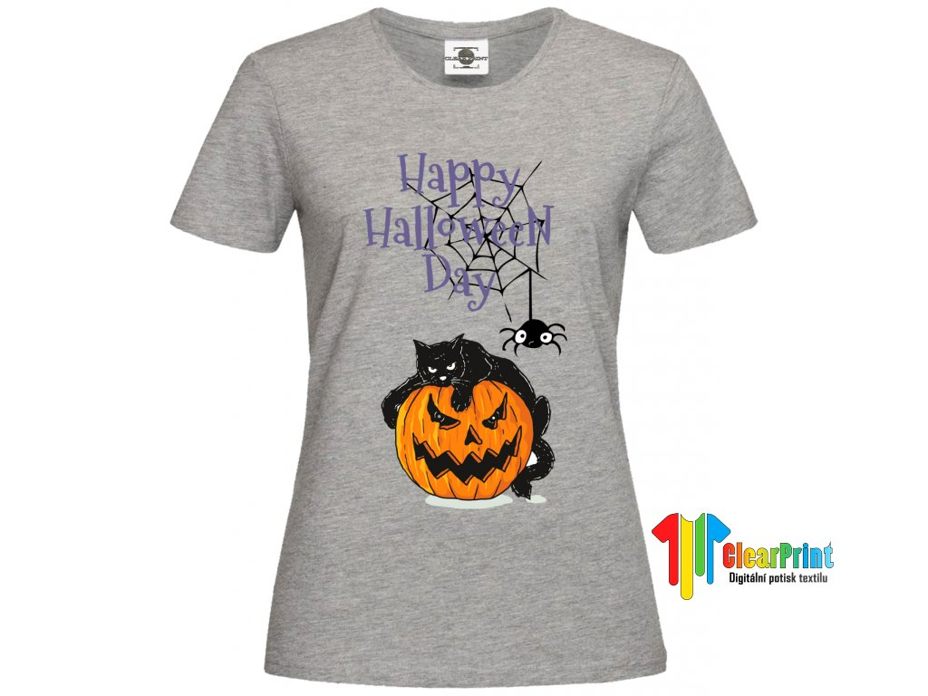 Happy Halloween Day Cat Náhled grey