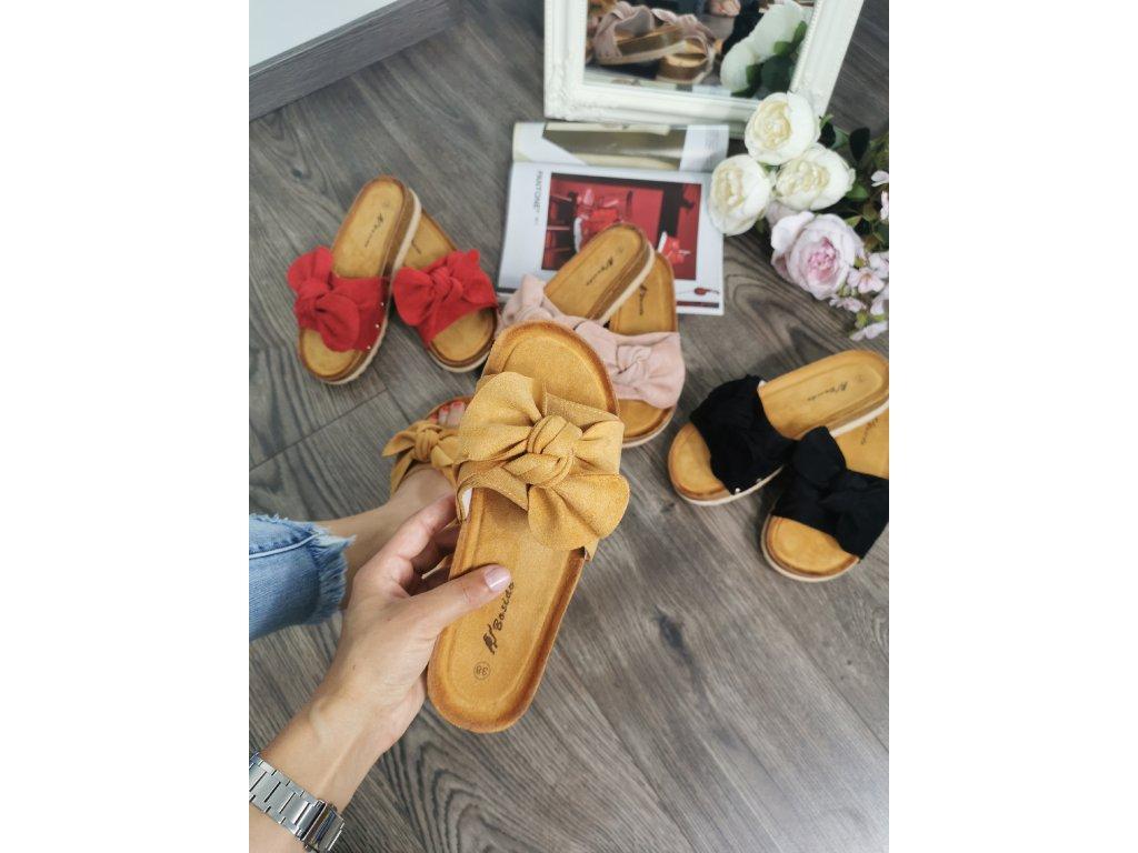 Dámske korkové šľapky 013 yellow
