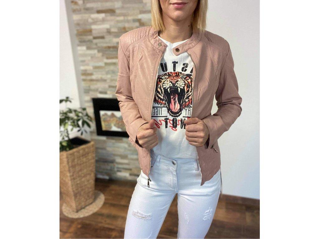 Koženková bunda pink