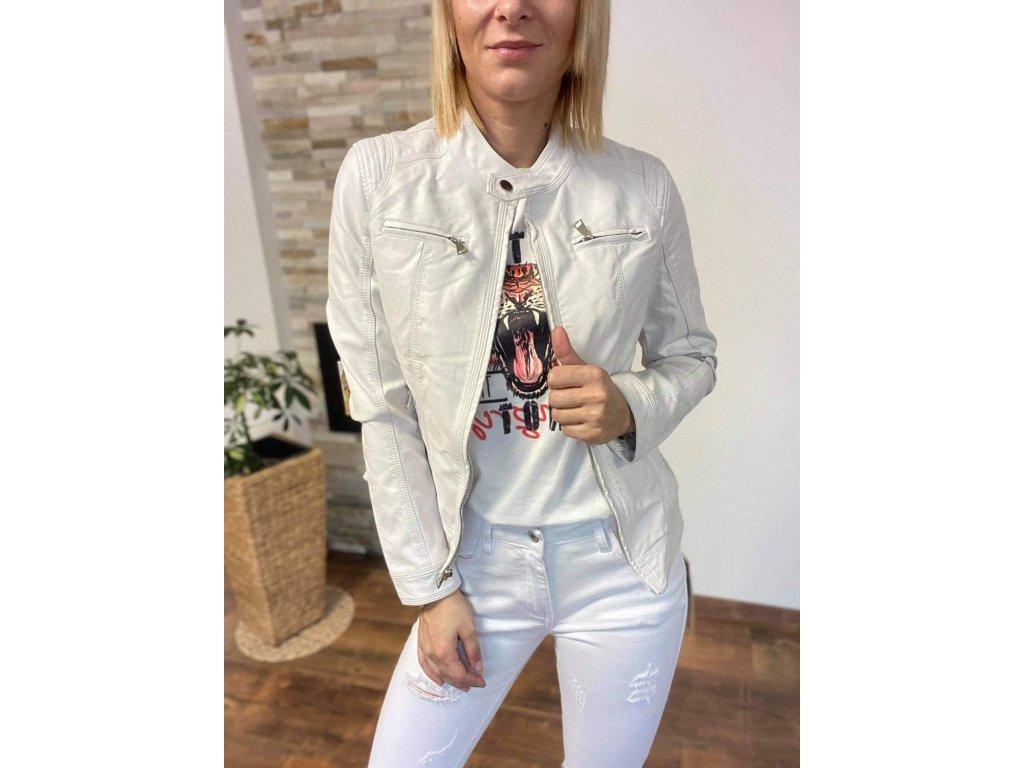 Koženková bunda white