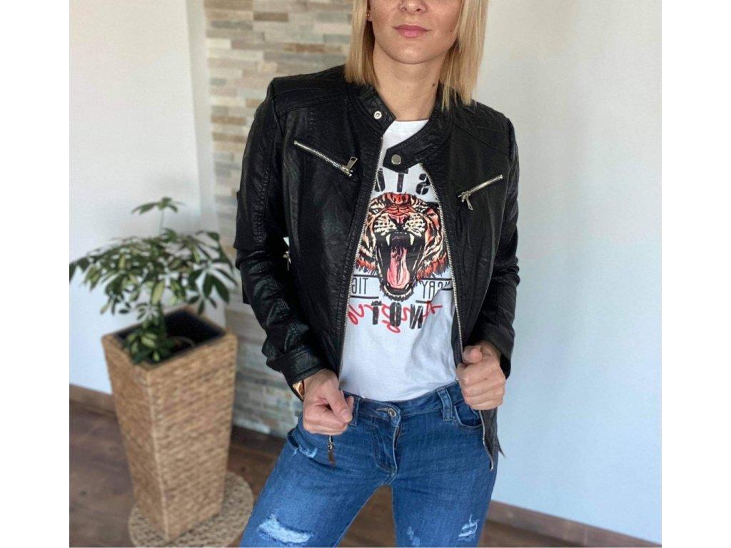 Koženková bunda black