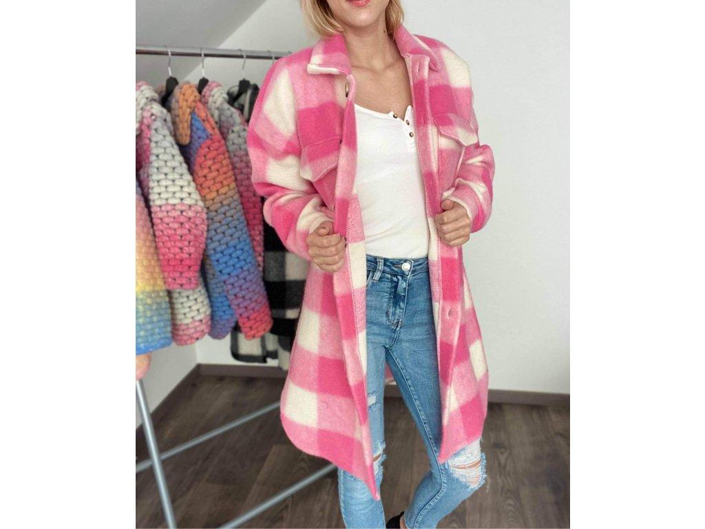 Dámsky kockovaný kabátik pink-white