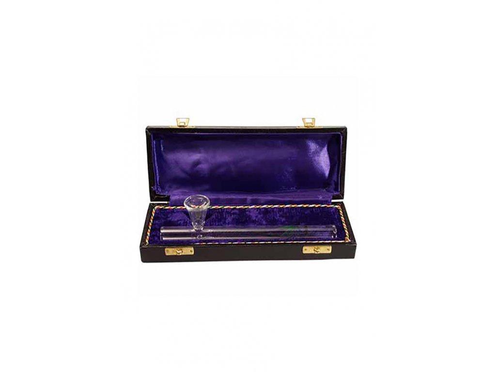 Skleněná fajfka v dřevěné krabici Smoking Pipe in Wooden Box