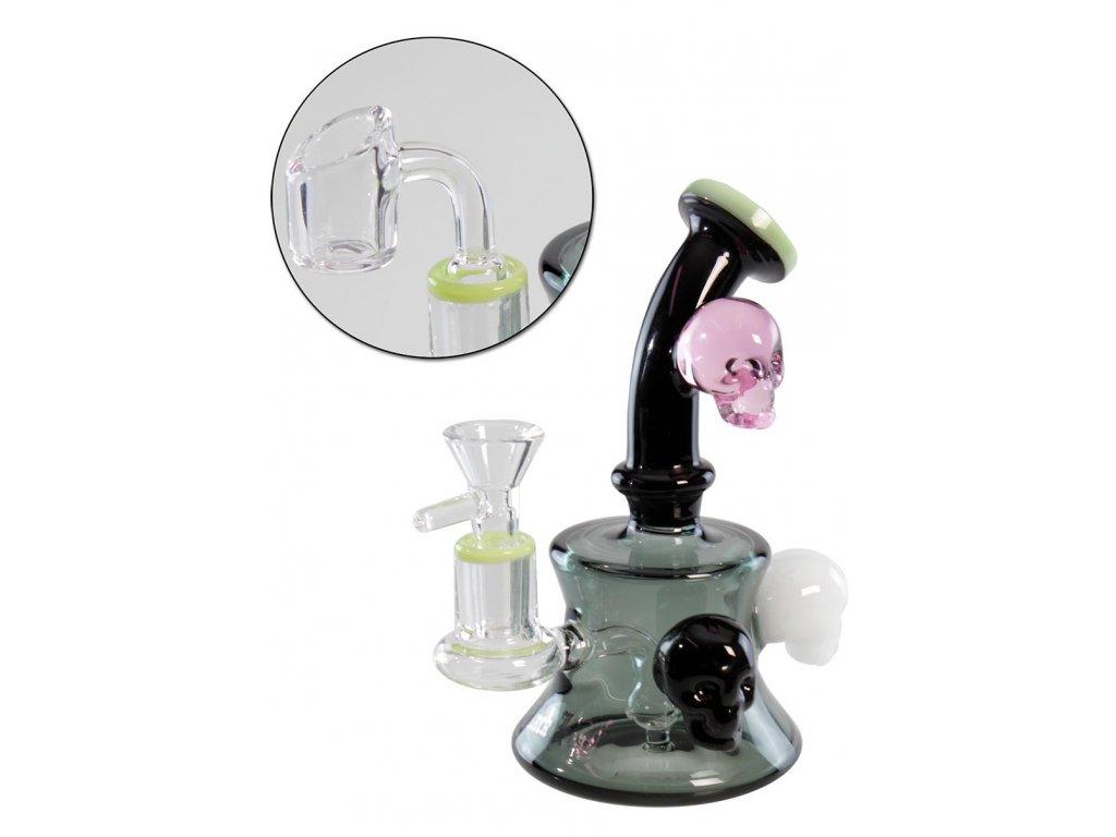Skleněný bong na sušinu i DAB s lebkami Black Leaf' 'Skulls' Glass Pipe for Herbs & Oil