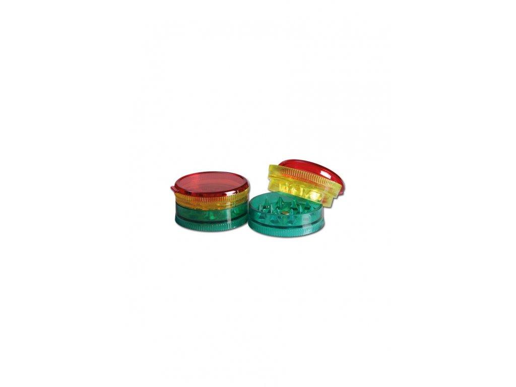 2patrová plastová mini drtička Mini Grinder Rasta 3-part