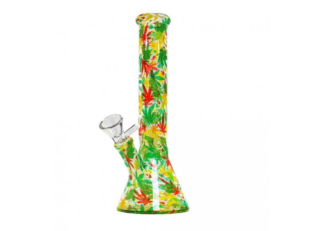 Rasta Leaves Glass Bong 26cm