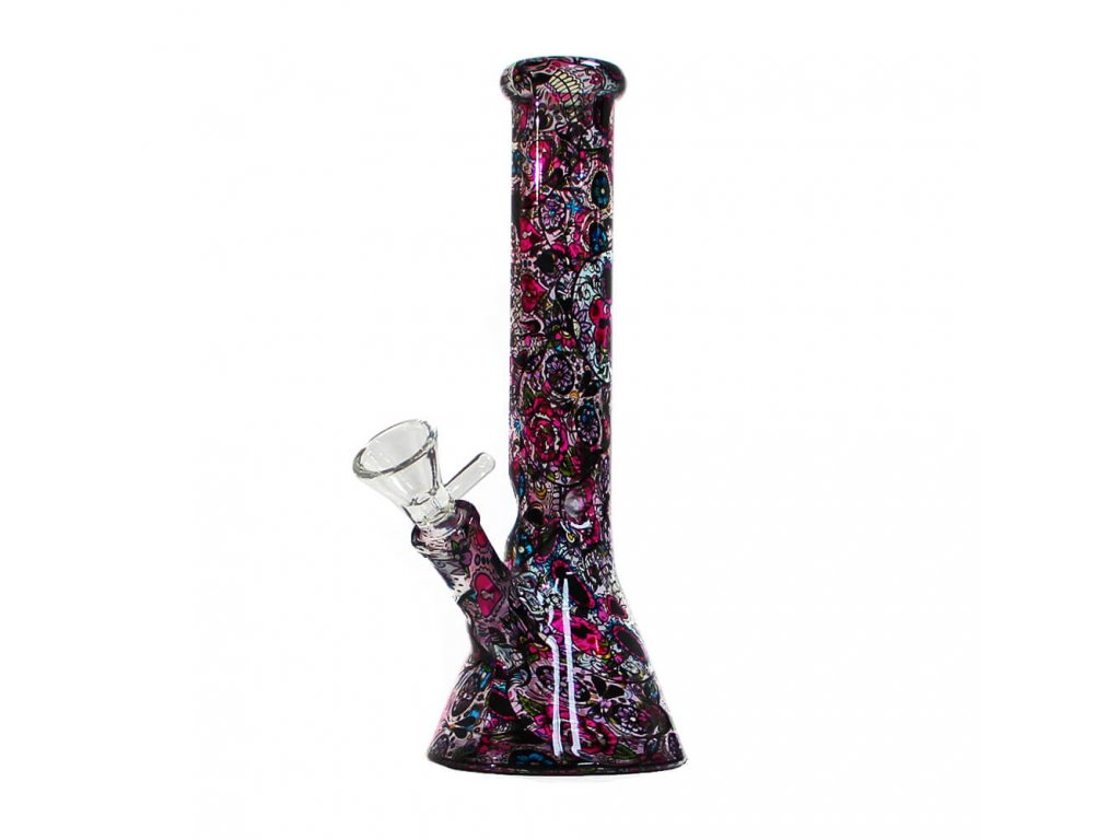 Mexican Flowers Glass Bong 26cm