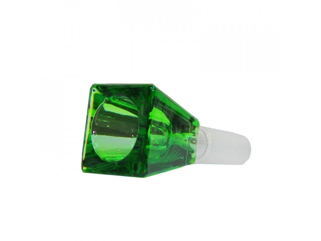 Rectangular Cube Green Glass Bong Bowl 14mm