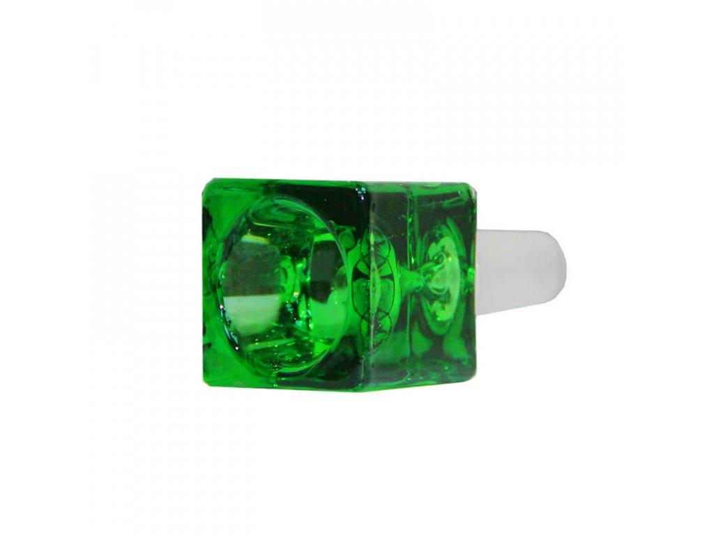 Skleněný zelený kotlík Cube 14 mm