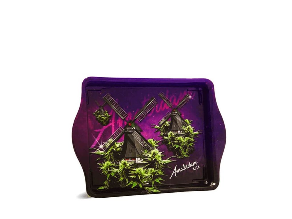 Violet Weed Mills Small Metal Rolling Tray