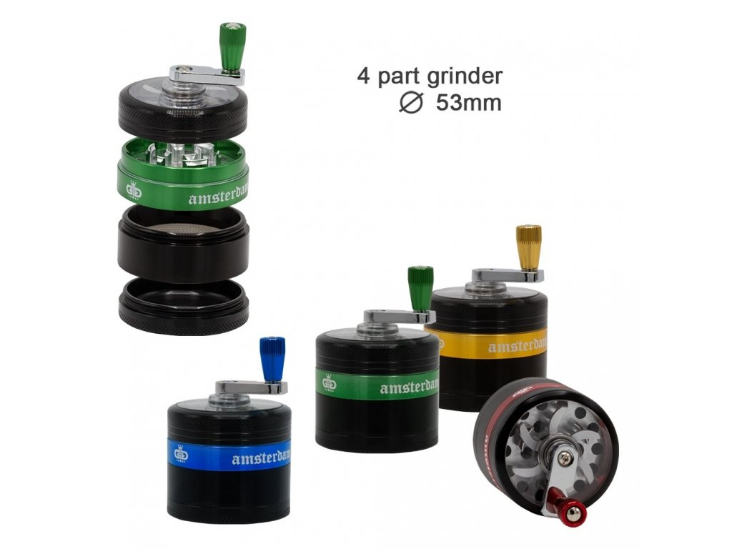 Grace Glass Amsterdam   Grinders - 4part - Ø:53mm - crank and window - Mixed Colors