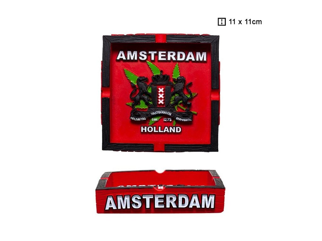 Clay Ashtray with Amsterdam Logo L: 11cm
