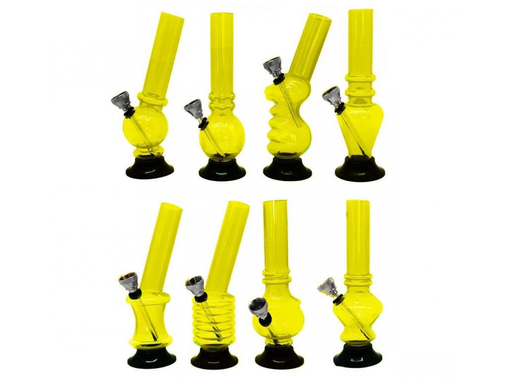 Mini akrylový bong žlutý 15 cm
