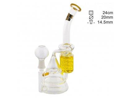 Skleněný žlutý bong Thug Life Bermuda, sklenene bongy, skleneny bong, dýmky, vodní dýmka, perkolací,perkolace, borosilikátového skla, kuřácké potřeby, bonga, bongy,