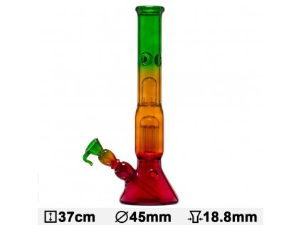 Boost Pro Rasta Beaker Glass Bong- H:37cm- Ø:45mm- Socket 18.8mm- WT:5mm (circa)