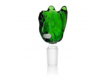 Skleněný zelený kotlík na bong s psycho obličejem 14 mm