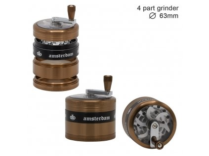 Grace Glass Amsterdam | Grinders - 4part - Ø:63mm - crank and window-Golden Brown