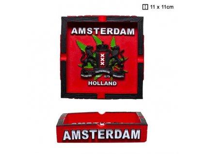 Hliněný popelník s logem Amsterdam 11 cm