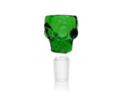 Skleněný kotlík zelená lebka 14 mm