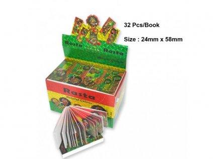 Papírové filtry Rasta Man Filter Tips - Large Size 24 x 58mm - Display...