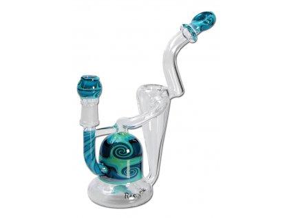 Skleněný modro-černý bong Blaze Glass' 'Recycler' Oil Bong blue & black