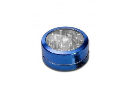 Modrá hliníková drtička s průzorem Neutral Window Grinder 2-part anodised blue