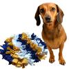 čmuchací kobereček modro zluto bily kulatý sindy