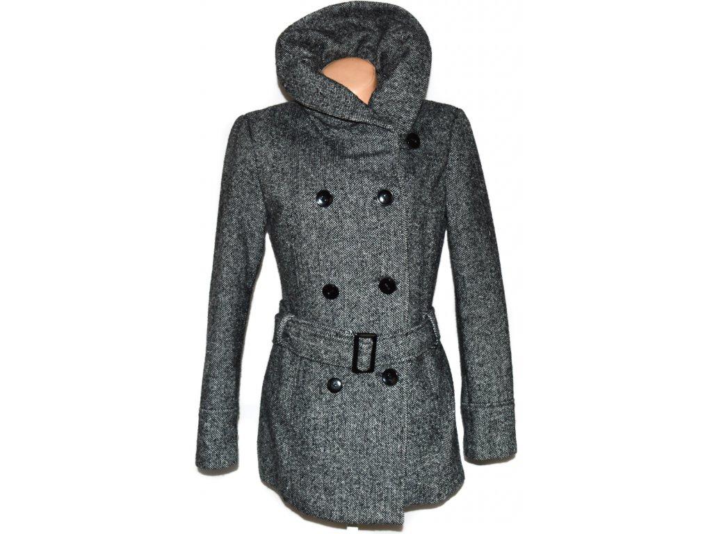Vlněný dámský černobílý kabát s páskem C A - Canda 14 40 - Coat ... 0f6aa72fa5c