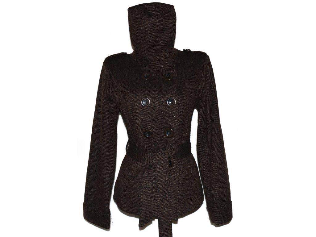 Vlněný dámský hnědý kabát s páskem Evie 46 - Coat-Master.cz 64fcc6b673