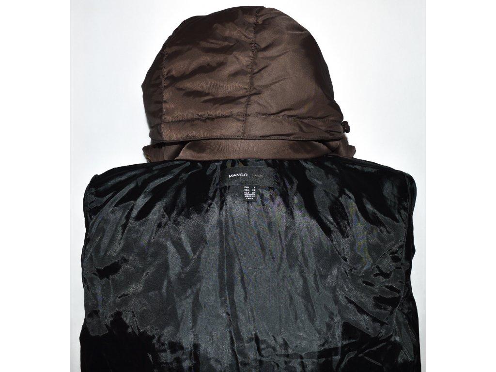 Péřový dámský hnědý šusťákový kabát s páskem a kapucí Mango XS ... e2bac9fc23