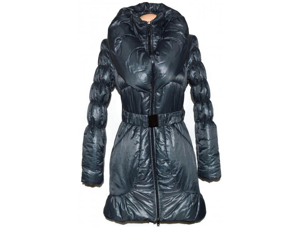 Dámský šedý šusťákový kabát s páskem a límcem S - Coat-Master.cz 324a2d714b