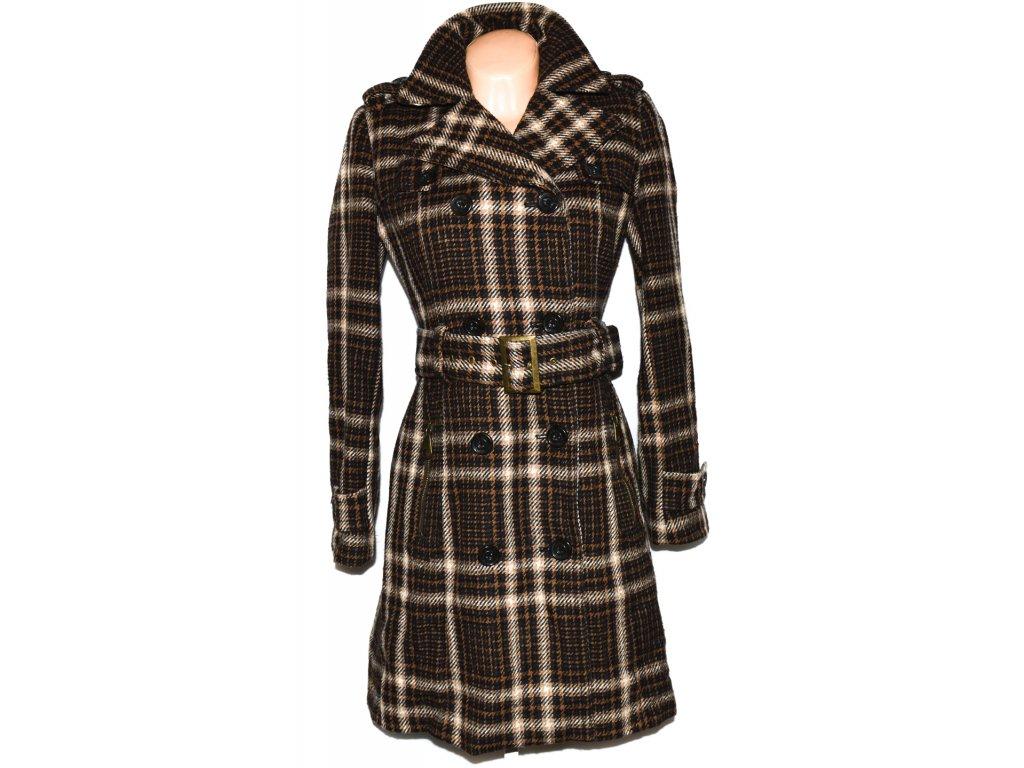 Vlněný dámský hnědý kabát s páskem ZARA L - Coat-Master.cz b04e24b2bfb