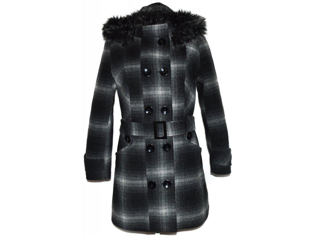 Dámský zateplený šedočerný kabát s páskem a kapucí Ragib L - Coat ... 7e89dffaeb