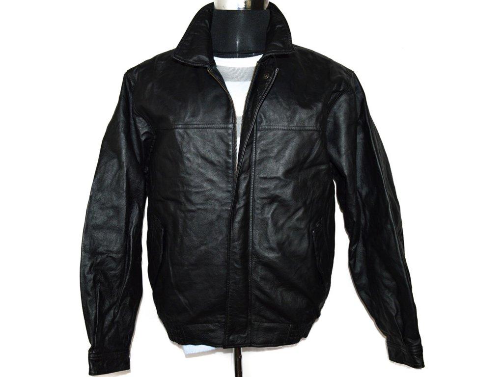 KOŽENÁ pánská černá měkká zateplená bunda na zip EASY