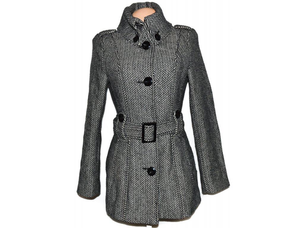 Vlněný dámský černobílý kabát s páskem AMISU 36 - Coat-Master.cz 2ec3486475