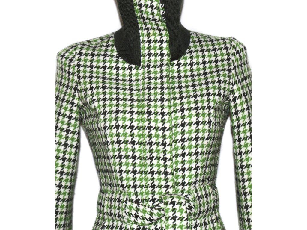 Dámský zelený kabát s páskem - kohoutí stopa S - Coat-Master.cz 829e910e23
