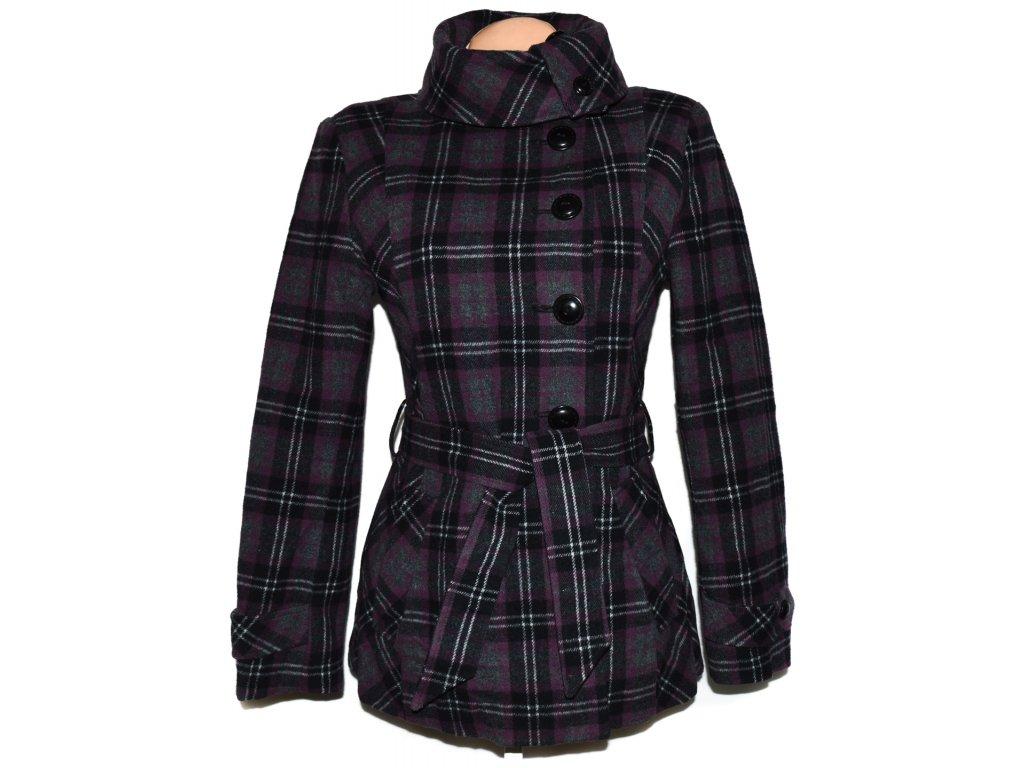 Vlněný dámský šedofialový zateplený kabát s páskem KappAhl M - Coat ... 5f55f82fee5
