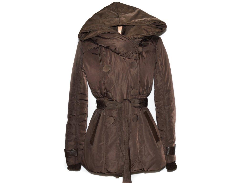 93dd420d95bc Dámský hnědý šusťákový kabát s páskem a kapucí Orsay M - Coat-Master.cz