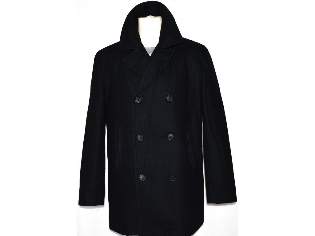 Vlněný (80%) pánský černý kabát ZARA vel. L