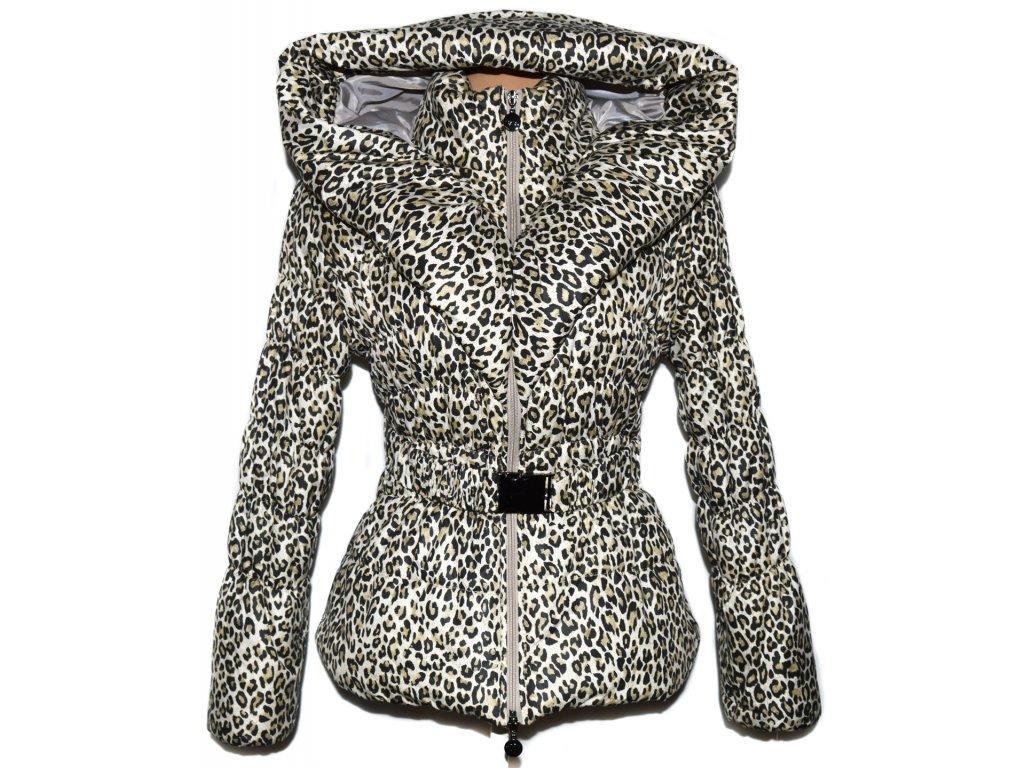 Dámský šusťákový leopardí kabát s páskem a límcem M - Coat-Master.cz 9cfaf808b0