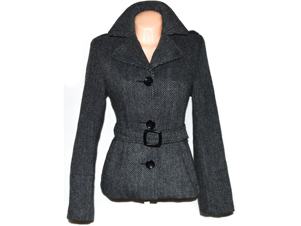 Dámský šedočerný zateplený kabát s páskem AMISU 38