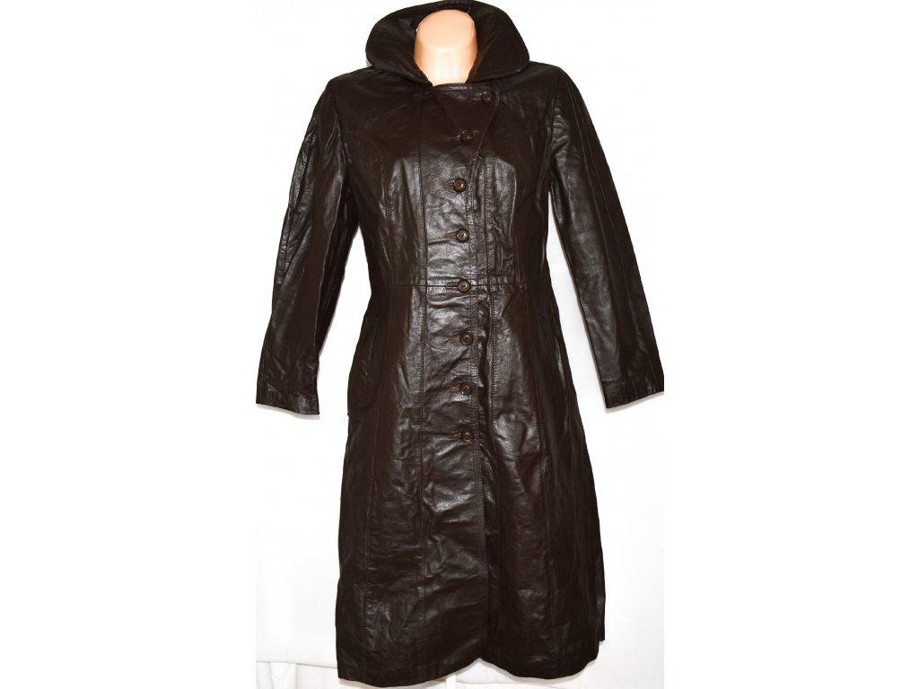 KOŽENÝ dámský dlouhý hnědý kabát SPINNEY