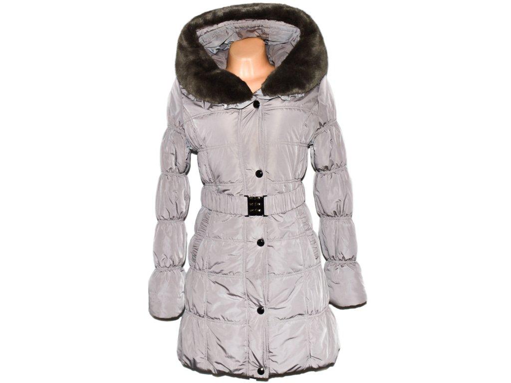 a5891dcaca Dámský béžový kabát s páskem a límcem Forest M - Coat-Master.cz