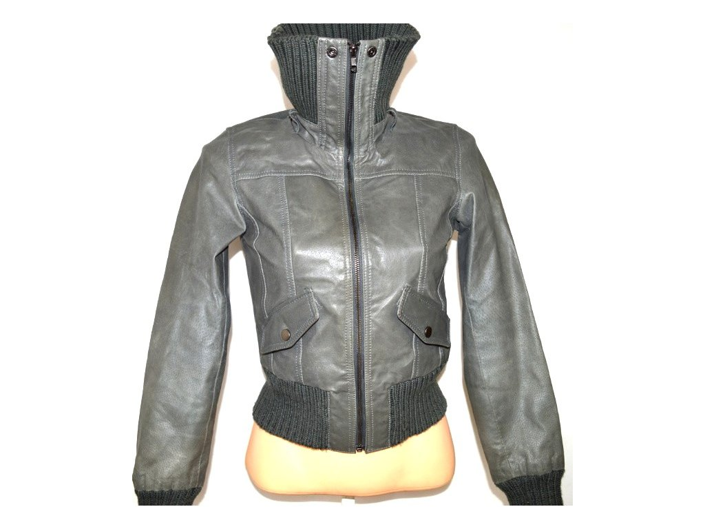 KOŽENÁ dámská šedá bunda NEW LOOK L