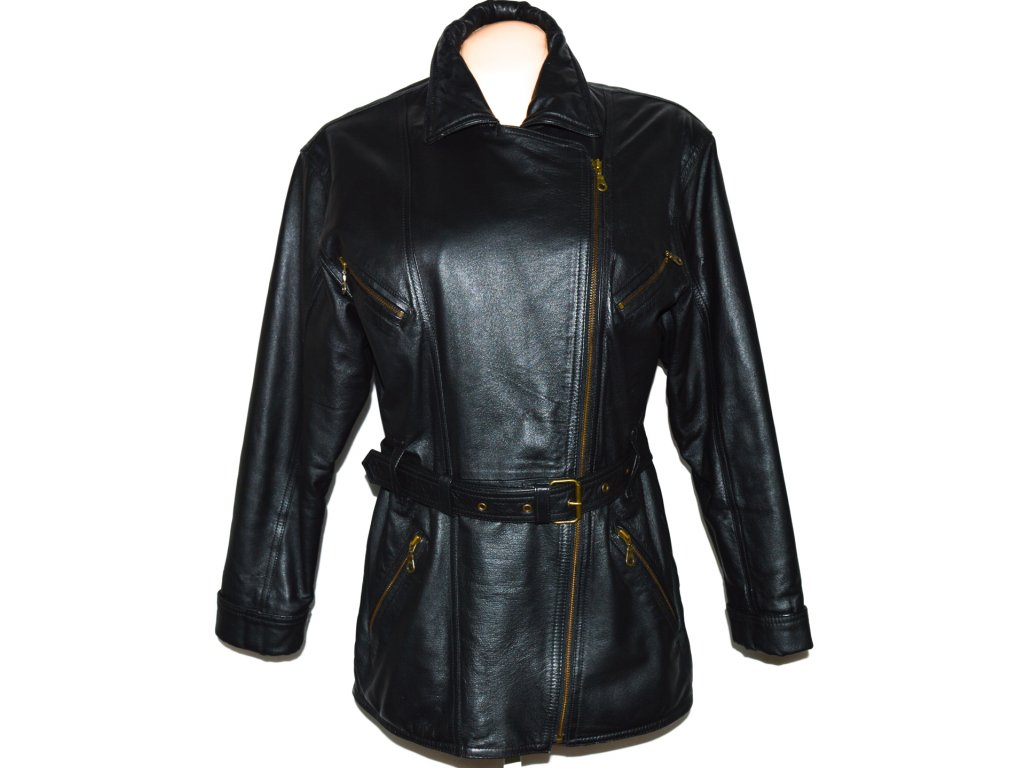 KOŽENÝ dámský černý měkký křivák - kabát C&A L
