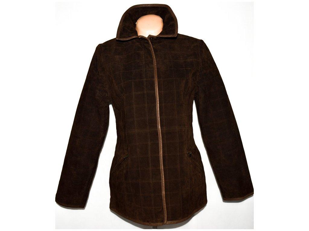 KOŽENÁ dámská hnědá prošívaná bunda na zip L/XL