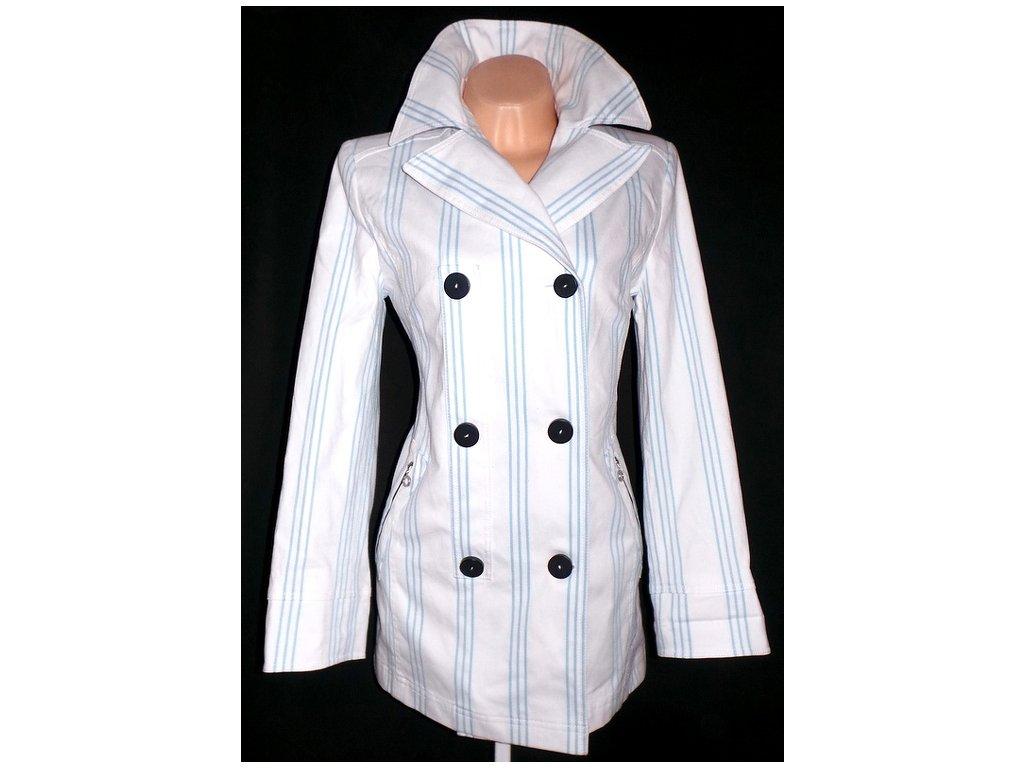 Bavlněný dámský bílý proužkovaný kabát L