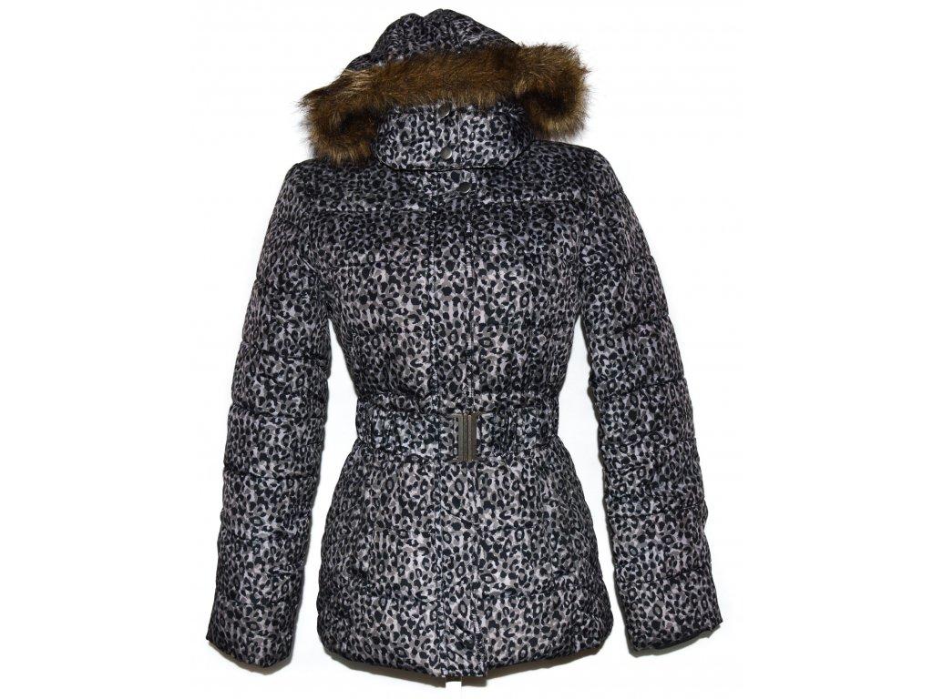 Dámský šedý leopardí kabát s páskem a kapucí