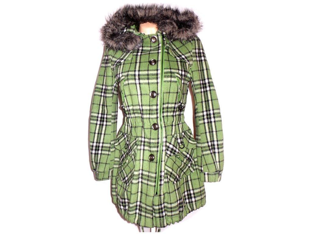 Dámský zelený kostkovaný kabát NEXT